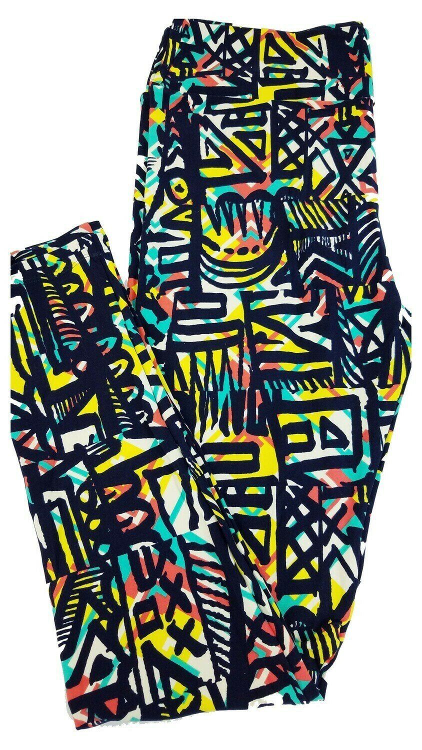 LuLaRoe Tall Curvy TC Navy Yellow Coral Teal Geometric Leggings Michigan Wolverines fits 12-18