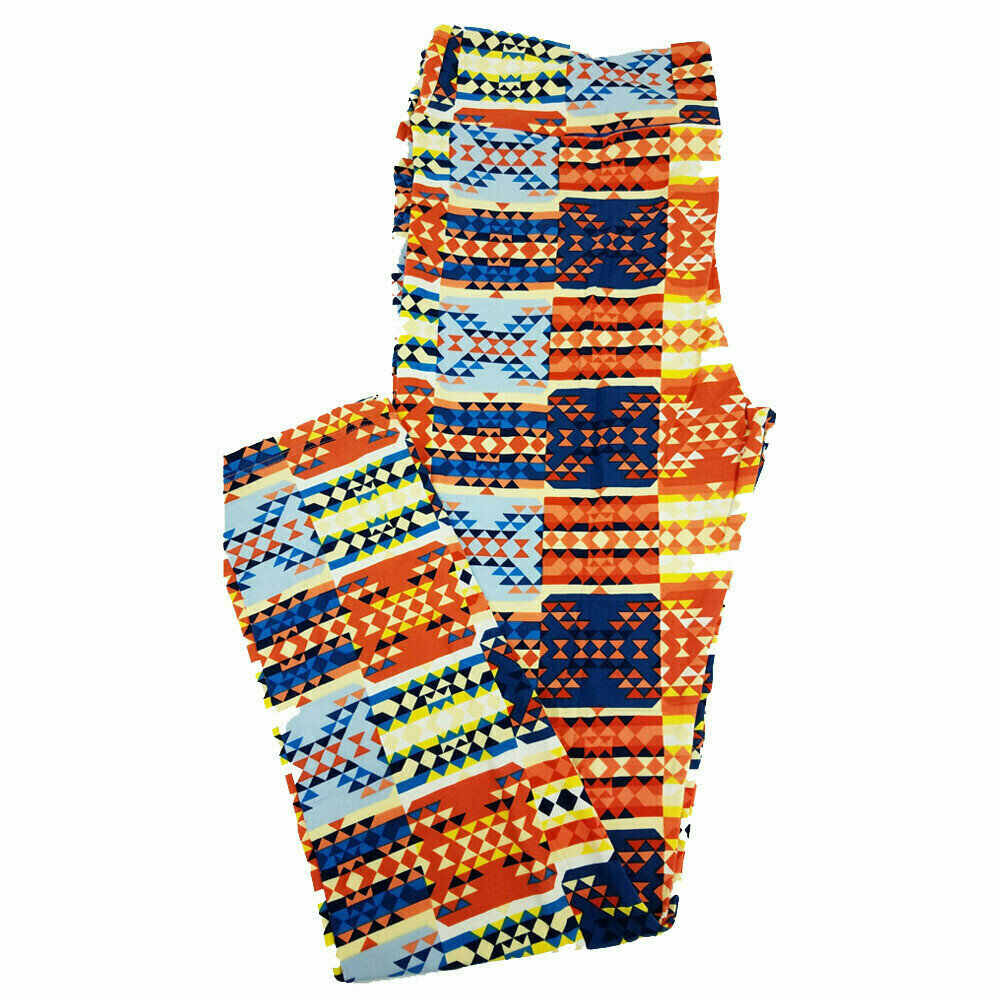 LuLaRoe Tall Curvy TC Orange Blue Multicolor Patchwork Geometric Leggings fits 12-18