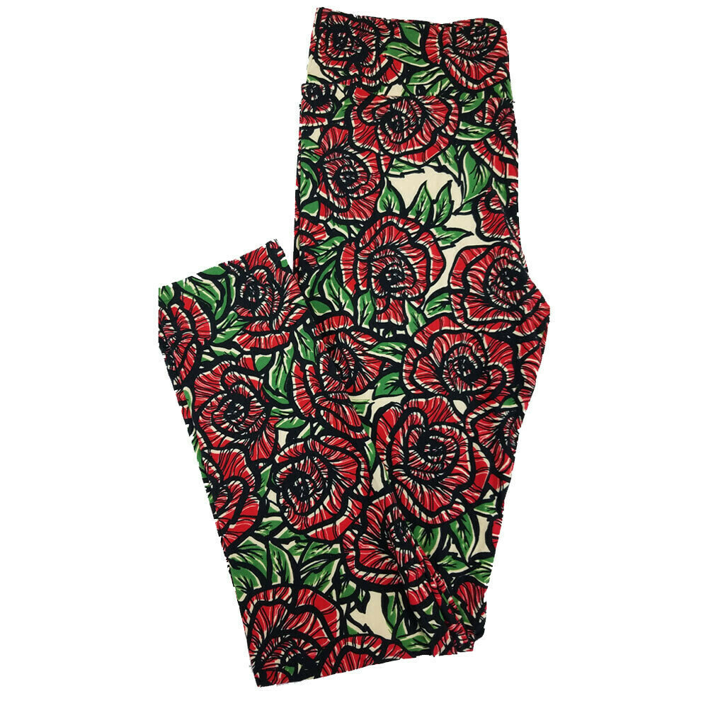 LuLaRoe Tall Curvy TC Roses Floral Geometric Leggings fits 12-18