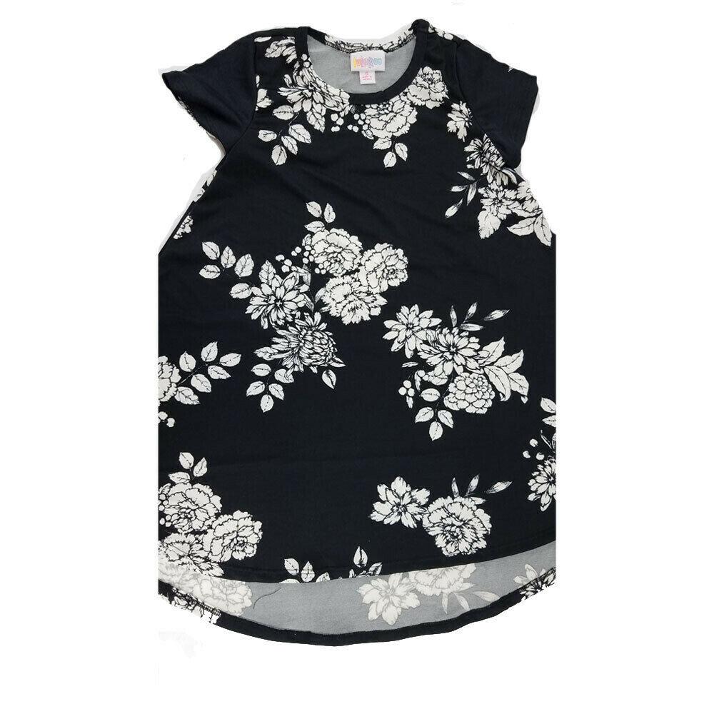 Kids Scarlett LuLaRoe Floral Black with White Swing Dress Size 6 fits kids 5-6