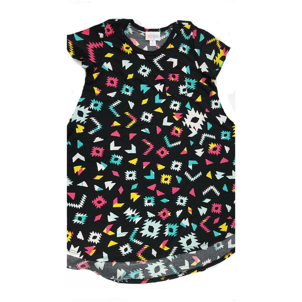 Kids Scarlett LuLaRoe Geometric Black White Pink Swing Dress Size 6 fits kids 5-6