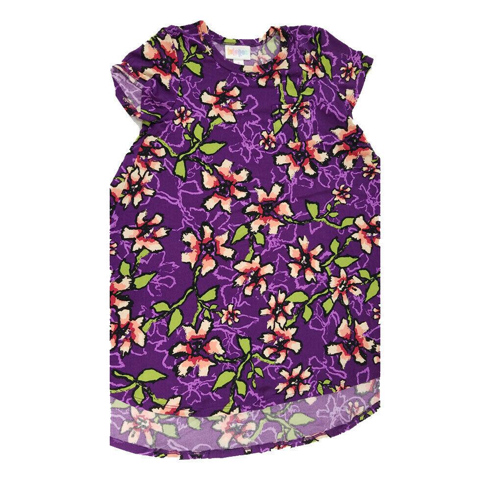 Kids Scarlett LuLaRoe Floral Purple Pink Green Swing Dress Size 6 fits kids 5-6