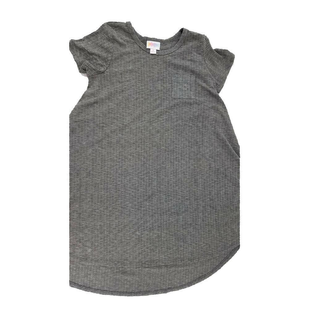Kids Scarlett LuLaRoe Geometric Solid Gray Stripe Swing Dress Size 8 fits kids 7-8