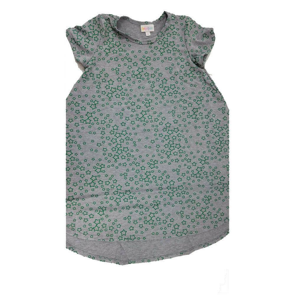 Kids Scarlett LuLaRoe Geometric Gray with Green Stars Swing Dress Size 8 fits kids 7-8