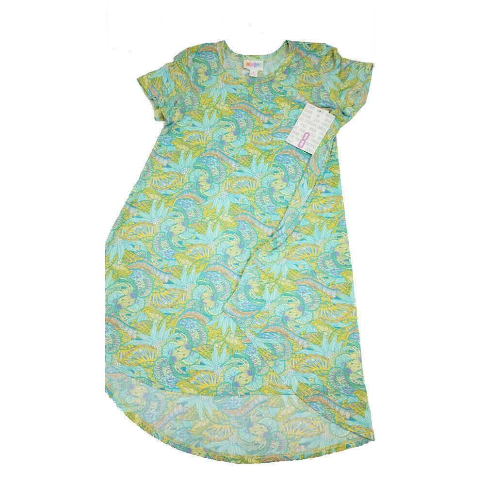 Kids Scarlett LuLaRoe Floral Light Blue Green Yellow Swing Dress Size 8 fits kids 7-8