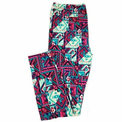 LuLaRoe Tall Curvy TC Fuchsia Blue Bone Patchwork Geometric Leggings fits 12-18