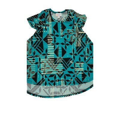 Kids Scarlett LuLaRoe Black Teal Cream Geometric w/ Pocket Swing Dress Size 2 fits kids 2T-4