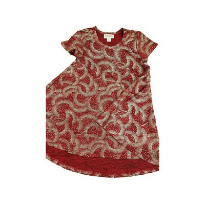 Kids Scarlett LuLaRoe Geometric Elegant Collection Deep Red Gold Polka Dot Swing Dress Size 2 fits kids 2T-4