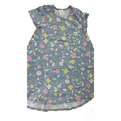 Kids Scarlett LuLaRoe Floral Purple Yellow Pink Swing Dress Size 10 fits kids 8-10