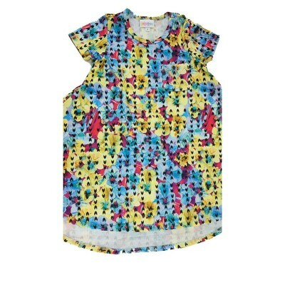 Kids Scarlett LuLaRoe Yellow Light Blue Red Floral Geometric Swing Dress Size 4 fits kids 3-4