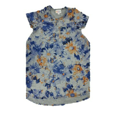 Kids Scarlett LuLaRoe Floral Gray Dark Blue Orange Swing Dress Size 6 fits kids 5-6