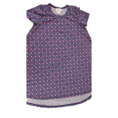 Kids Scarlett LuLaRoe Floral Pink Blue Purple Polka Dot Swing Dress Size 6 fits kids 5-6