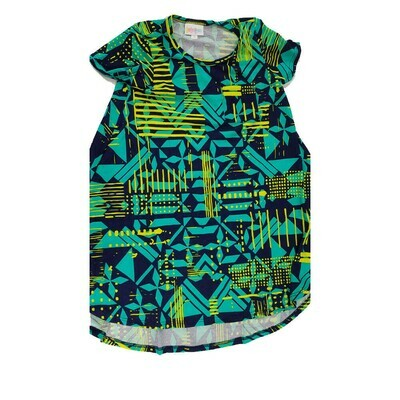 Kids Scarlett LuLaRoe Geometric Teal Yellow Black Swing Dress Size 6 fits kids 5-6