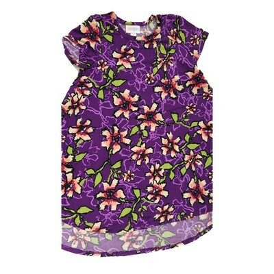 Kids Scarlett LuLaRoe Floral Purple Pink Green Swing Dress Size 6 fits kids 5-6
