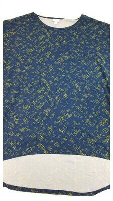 IRMA Blue and Gold Geometric Legging Material Large (L) LuLaRoe Tunic fits 15-18