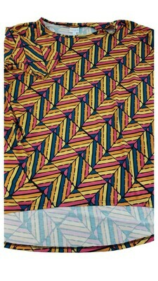 IRMA Pink Orange Yellow and Blue Chevron Geometric Large (L) LuLaRoe Womens Tunic Fits Sizes 15-18