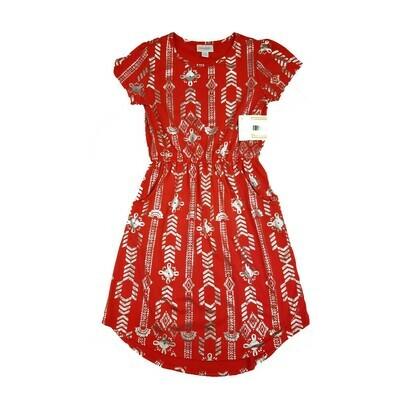 Kids Mae LuLaRoe Elegant Collection Geometric Red with Metallic Silver Chevrons Pocket Dress Size 10 fits kids 8-10