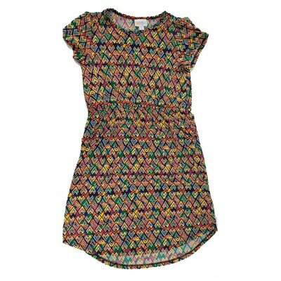 Kids Mae LuLaRoe Geometric Dark Blue Yellow Orange Pocket Dress Size 12 fits kids 12-14