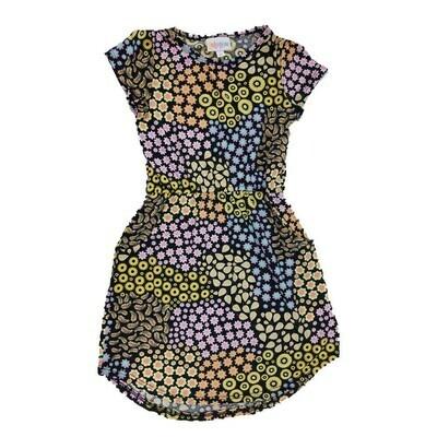 Kids Mae LuLaRoe Geometric Black Yellow Blue Polka Dot Pocket Dress Size 6 fits kids 5-6