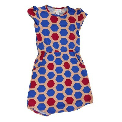 Kids Mae LuLaRoe Geometric Coral Blue Pink Hexagon Polka Dot Pocket Dress Size 8 fits kids 7-8