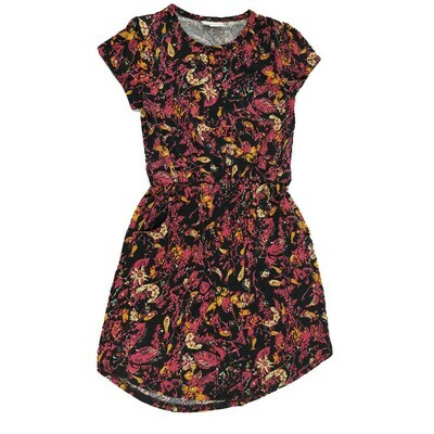 Kids Mae LuLaRoe Floral Black Pink Pocket Dress Size 8 fits kids 7-8