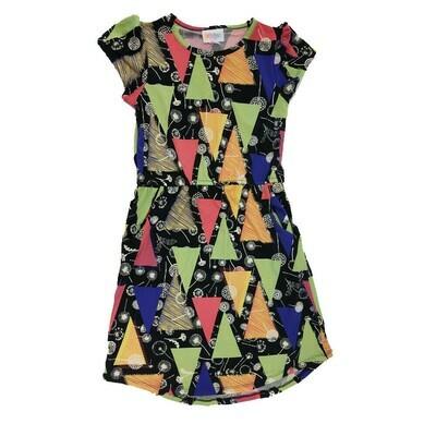 Kids Mae LuLaRoe Geometric Black Green Yellow Dandelions Pocket Dress Size 8 fits kids 7-8