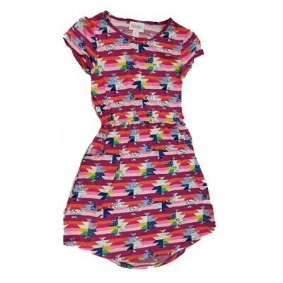 Kids Mae LuLaRoe Geometric Fuchsia Pink Blue Pocket Dress Size 8 fits kids 7-8
