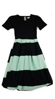 AMELIA Black and Mint Green Stripe XX-Small (XXS) LuLaRoe Womens Dress for sizes 00-0