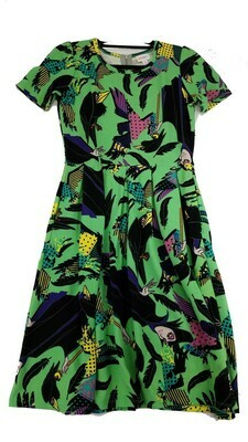 AMELIA Disney Sleeping Beauty Diaval Black Lime Green Yellow Medium (M) LuLaRoe Womens Dress for sizes 10-12