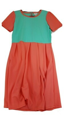 AMELIA Solid Coral and Teal X-Large (XL) LuLaRoe Womens Dress for sizes 18-20