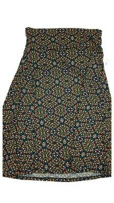 AZURE Small (S) Black White Green Geometric LuLaRoe Skirt fits 2-4