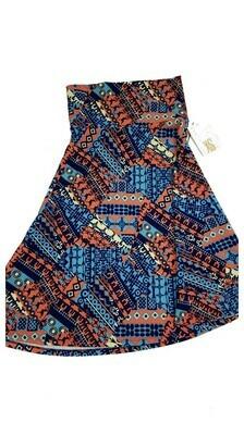 AZURE X-Small (XS) Blue Light Blue Peach LuLaRoe Skirt Sizes 00-0