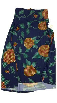 AZURE X-Small (XS) Blue Orange Pink and Yellow Roses LuLaRoe Skirt Sizes 00-0