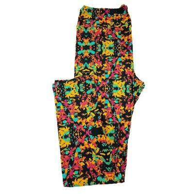 LuLaRoe Tall Curvy TC Multicolor Floral Geometric Leggings fits 12-18
