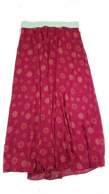 LuLaRoe Lucy Maroon and Cream X-Large (XL) Floor Length Women's Skirt fits Sizes 15-18