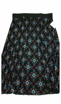 LuLaRoe Jill Black Coral Blue Large (L) Accordion Women's Skirt fits Sizes 14-15