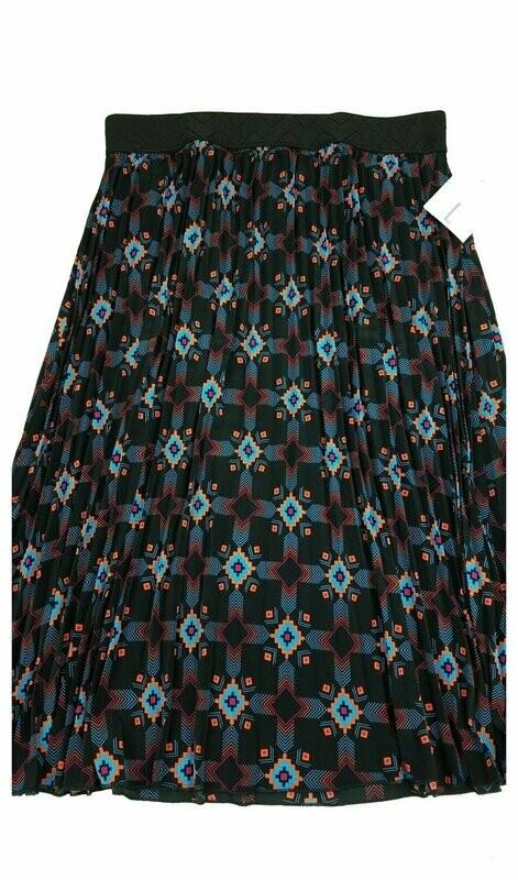 LuLaRoe Jill Black Coral Blue Large (L) Accordion Women's Skirt fits Sizes 14-15