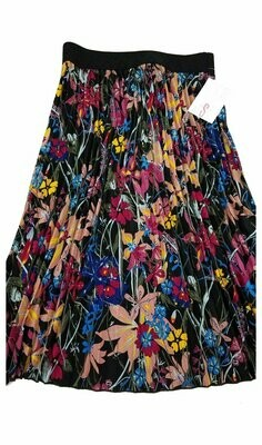 LuLaRoe Jill Black Mauve Pink Floral Small (S) Accordion Women's Skirt fits Sizes 6-8