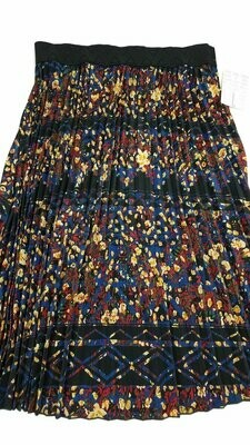 LuLaRoe Jill Black Tan Blue Large (L) Accordion Women's Skirt fits Sizes 14-15