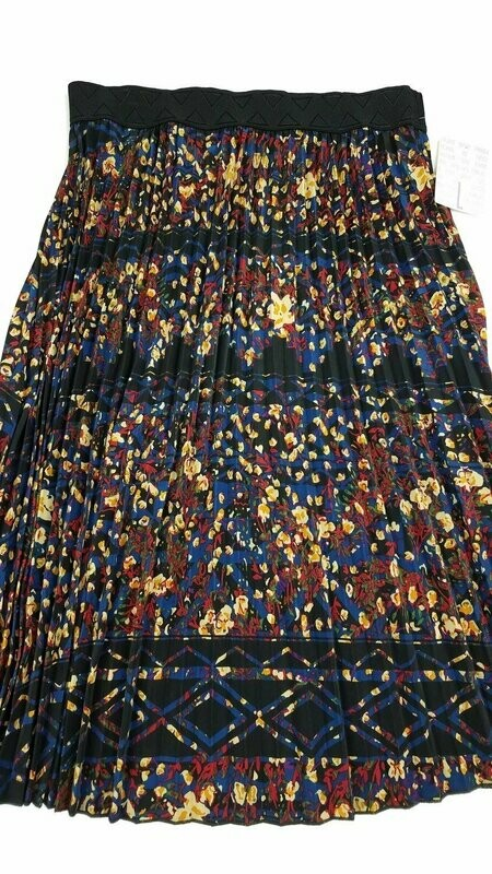 LuLaRoe Jill Black Tan Blue Large (L) Accordion Women's Skirt fits Sizes 14-15