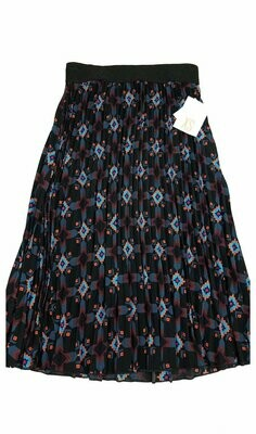 LuLaRoe Jill Black Blue and Coral X-Small (XS) Accordion Women's Skirt fits Sizes 2-4