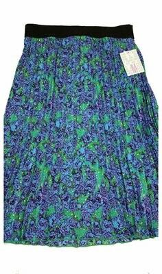 LuLaRoe Jill Blue Turquoise Purple Floral Medium (M) Accordion Women's Skirt fits Sizes 10-12
