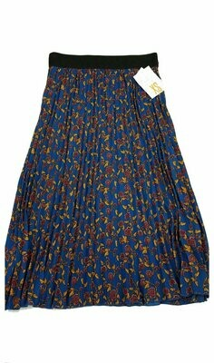 LuLaRoe Jill Navy Blue Gold and Maroon X-Small (XS) Accordion Women's Skirt fits Sizes 2-4