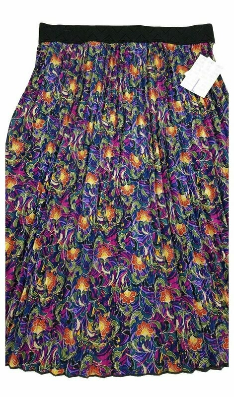 LuLaRoe Jill Navy Olive Green Pink Floral Large (L) Accordion Women's Skirt fits Sizes 14-15