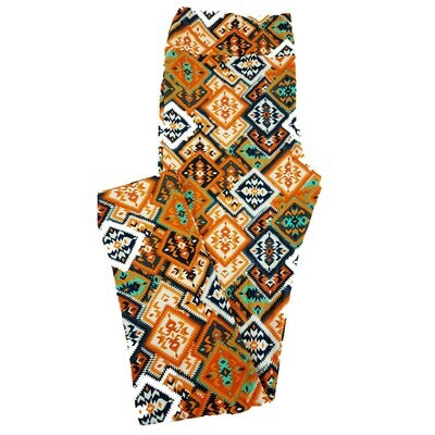 LuLaRoe Tall Curvy TC Orange Blue Patchwork Geometric Leggings fits 12-18