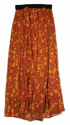 LuLaRoe Lucy Orange Small (S) Floor Length Women's Skirt fits Sizes 4-6