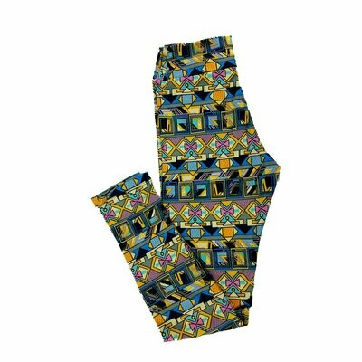 Tween LuLaRoe Leggings Floral Geometric Fits Adult Sizes 00-0