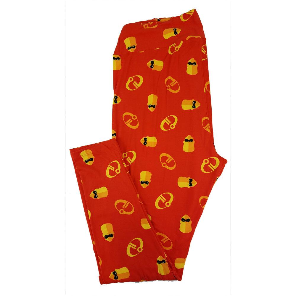 LuLaRoe TC2 Disney Mr. Incredible Red Gold Black Leggings fits Adult Sizes 18+