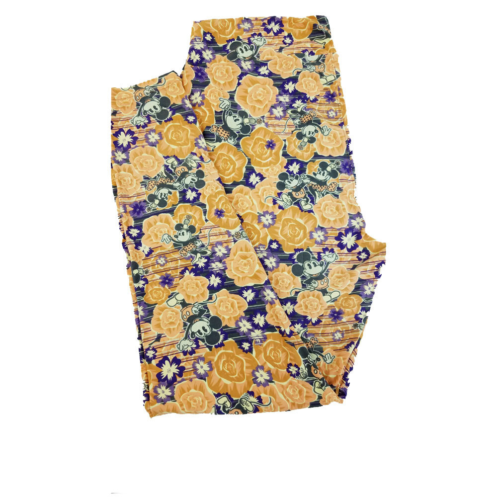 LuLaRoe TC2 Disney Mickey and Minnie Mouse Dancing in the Flowers Gold Purple Lavender Stripe Leggings fits Adult Sizes 18+