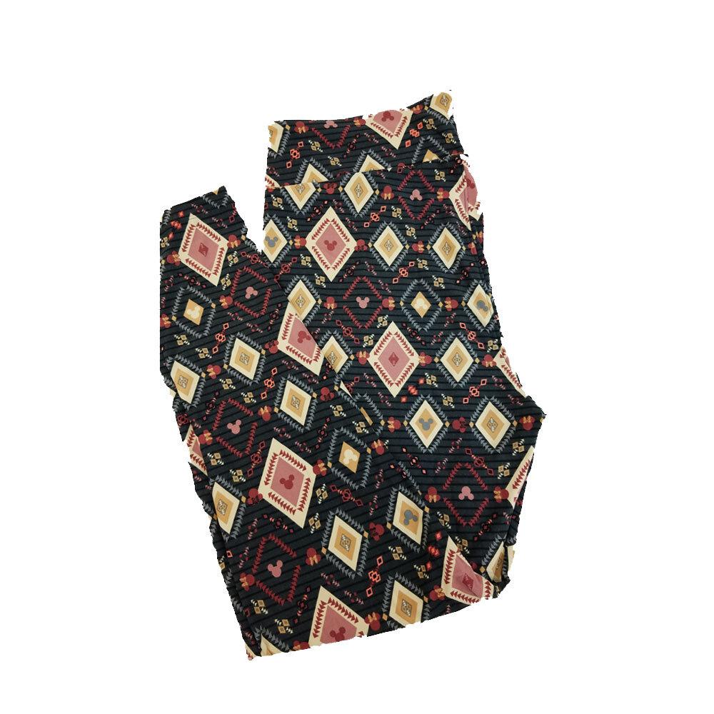 LuLaRoe TC2 Disney Mickey and Minnie Mouse Geometric Black yellow Pink Stripe Leggings fits Adult Sizes 18+